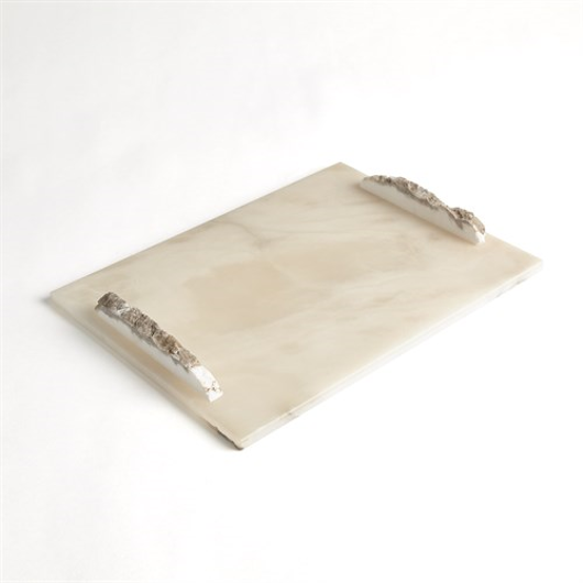 Picture of ALABASTER RECTANGLE TRAY W/ROCK HANDLES